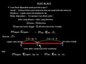 ASAS BLACK Asas Black digunakan pada peristiwa apa