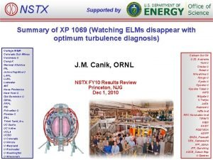 NSTX Supported by Summary of XP 1069 Watching