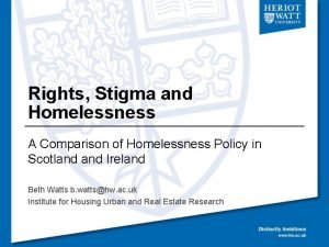 Rights Stigma and Homelessness A Comparison of Homelessness