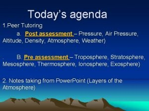 Todays agenda 1 Peer Tutoring a Post assessment