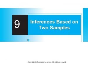 9 Inferences Based on Two Samples Copyright Cengage