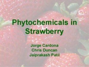 Phytochemicals in Strawberry Jorge Cardona Chris Duncan Jaiprakash