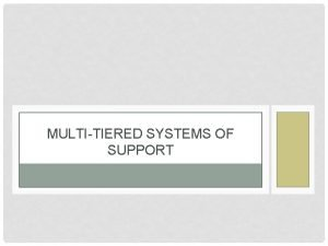 MULTITIERED SYSTEMS OF SUPPORT http bit lyMTSSOverview This