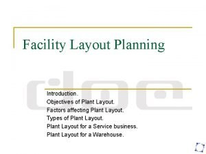 Facility Layout Planning Introduction Objectives of Plant Layout