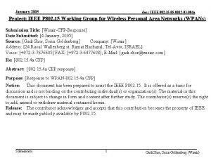 January 2005 doc IEEE 802 15 05 0012