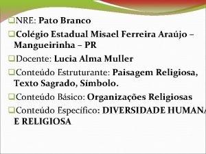 NRE Pato Branco Colgio Estadual Misael Ferreira Arajo