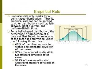 Empirical Rule q q Empirical rule only works
