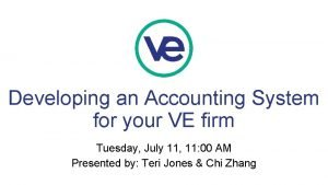 Developing an Accounting System for your VE firm