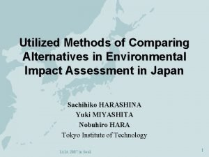 Utilized Methods of Comparing Alternatives in Environmental Impact