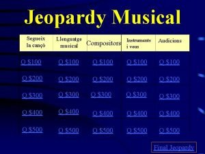 Jeopardy Musical Segueix la can Llenguatge musical Compositors
