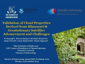 Validation of Cloud Properties Derived from Himawari8 Geostationary