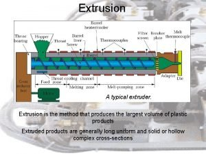Extrusion A typical extruder Extrusion is the method