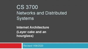 CS 3700 Networks and Distributed Systems Internet Architecture