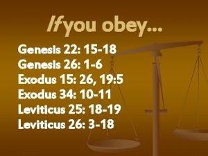 If you obey Genesis 22 15 18 Genesis