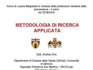 Corso di Laurea Magistrale in Scienze delle professioni