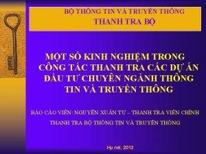 B THNG TIN V TRUYN THNG THANH TRA