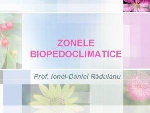 ZONELE BIOPEDOCLIMATICE Prof IonelDaniel Rduianu NOIUNI NOI Zon