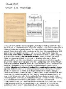 HUMANISTIKA Podroje 6 08 Muzikologija V letu 2010