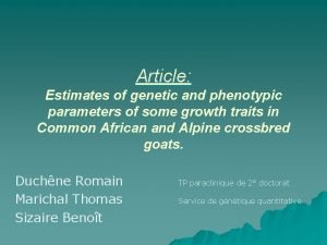 Article Estimates of genetic and phenotypic parameters of