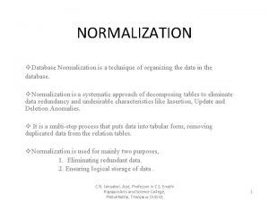 NORMALIZATION v Database Normalization is a technique of