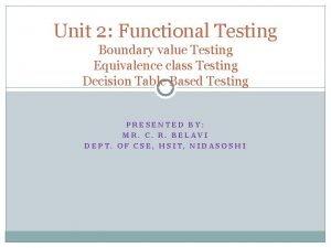 Unit 2 Functional Testing Boundary value Testing Equivalence