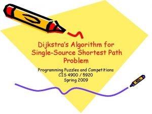 Dijkstras Algorithm for SingleSource Shortest Path Problem Programming