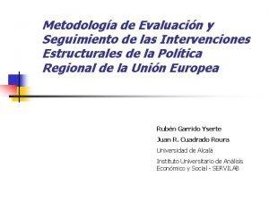 Metodologa de Evaluacin y Seguimiento de las Intervenciones