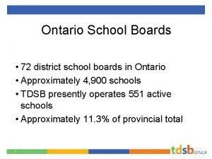 Ontario School Boards 72 district school boards in