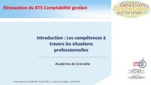 Rnovation du BTS Comptabilit gestion Introduction Les comptences