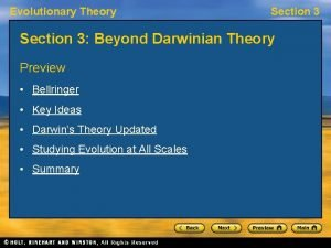 Evolutionary Theory Section 3 Beyond Darwinian Theory Preview