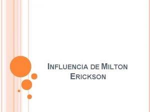 INFLUENCIA DE MILTON ERICKSON ASPECTOS GENERALES Psiquiatra estadounidense