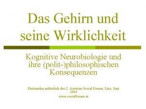 Das Gehirn und seine Wirklichkeit Kognitive Neurobiologie und