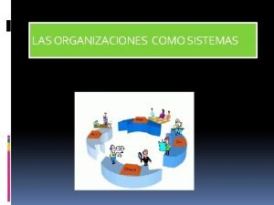 LAS ORGANIZACIONES COMO SISTEMAS LAS ORGANIZACIONES CONCEPTO Estan