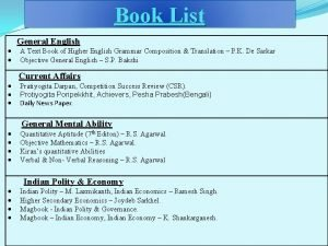 Book List General English A Text Book of