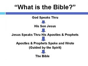 What is the Bible God Speaks Thru His