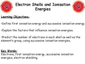 Electron Shells and Ionisation Energies Learning Objectives Define