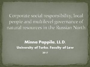 Corporate social responsibility local people and multilevel governance
