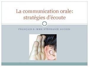 La communication orale stratgies dcoute FRANAIS 8 MME