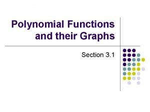 Polynomial Functions and their Graphs Section 3 1