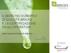 IL MARCHIO EUROPEO DI QUALIT BRICKS E LA