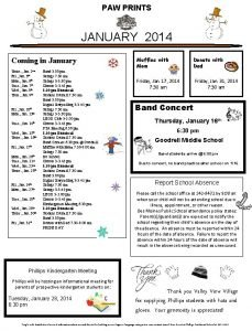 PAW PRINTS JANUARY 2014 Coming in January Thurs