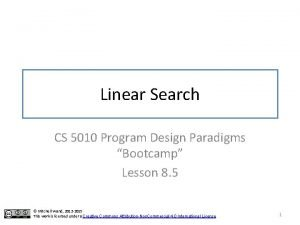 Linear Search CS 5010 Program Design Paradigms Bootcamp