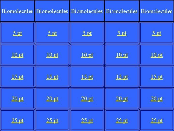Biomolecules Biomolecules 5 pt 5 pt 10 pt