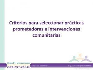 Criterios para seleccionar prcticas prometedoras e intervenciones comunitarias