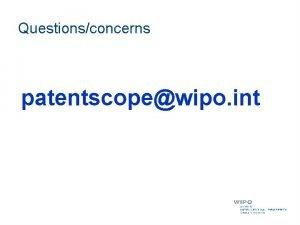 Questionsconcerns patentscopewipo int Agenda IPC brief introduction IPC