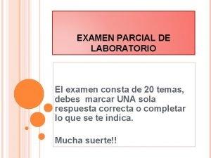 EXAMEN PARCIAL DE LABORATORIO El examen consta de