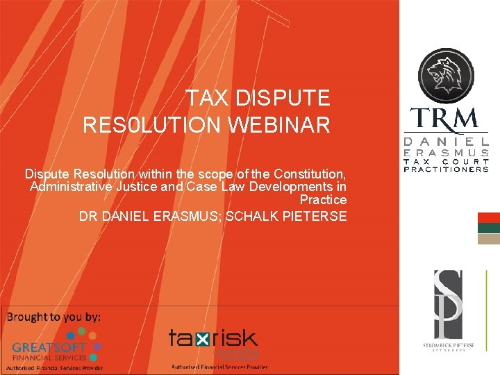 TAX DISPUTE RES 0 LUTION WEBINAR Dispute Resolution
