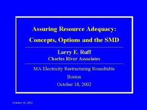 Assuring Resource Adequacy Concepts Options and the SMD
