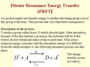 Frster Resonance Energy Transfer FRET An excited singlet