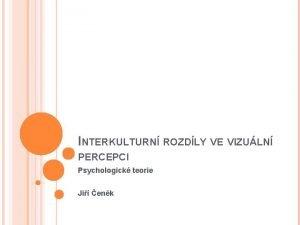 INTERKULTURN ROZDLY VE VIZULN PERCEPCI Psychologick teorie Ji
